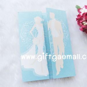 การ์ดแต่งงาน 3 พับสีฟ้าดีไซน์บ่าวสาวปกหน้าอย่างสวยเรียบมีระดับ